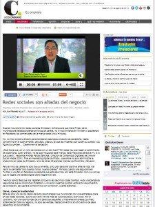 Hablando en el Colombiano sobre el uso de las redes sociales para las empresas página entera