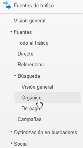 Analytics fuentes de tráfico  - búsqueda - orgánico