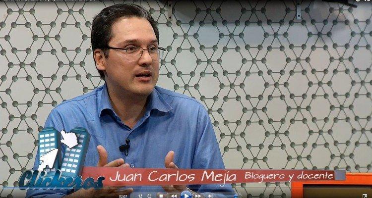 Juan Carlos Mejía Llano hablando de cómo ser un blogger exitoso en el programa de TV Clickeros
