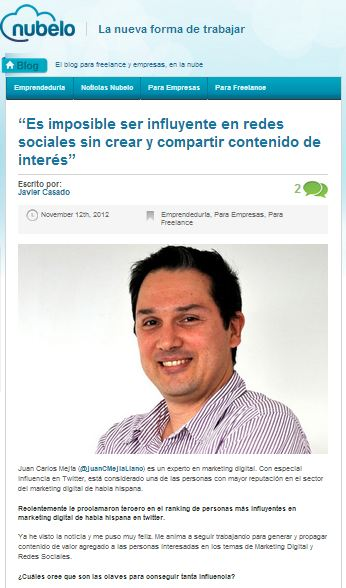 Juan Carlos Mejía en entrevista en Nubelo