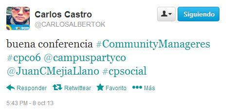 Tuit en conferencia de Juan Carlos Mejía Llano en Campus Party 12