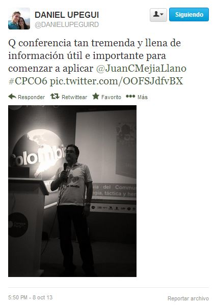 Tuit en conferencia de Juan Carlos Mejía Llano en Campus Party 9