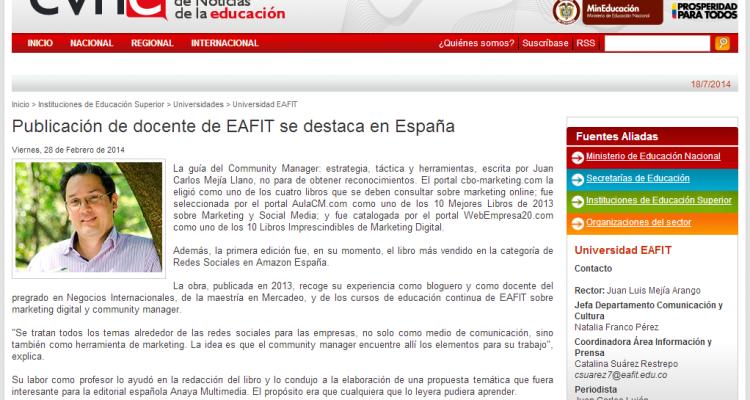 Artículo de Juan Carlos Mejía Llano en el portal del Ministerio de Educación de Colombia
