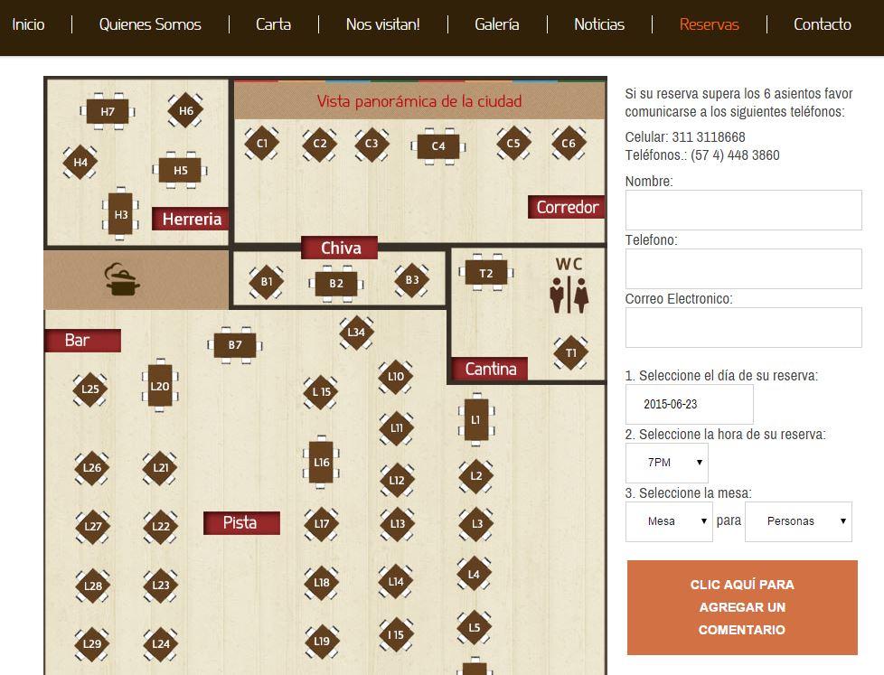Sistema de reservas del restaurante Marmoleo