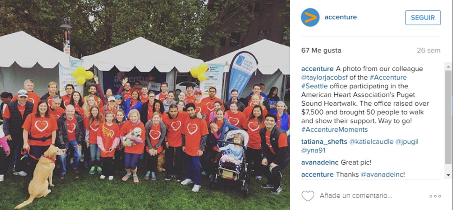 Foto mostrando personas en Instagram Accenture