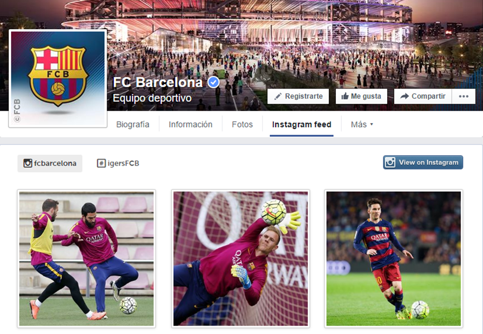 Pestaña de Facebook con Feed de Instagram FC Barcelona