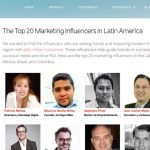 Top 20 influencers latinoamérica de Traackr Blog
